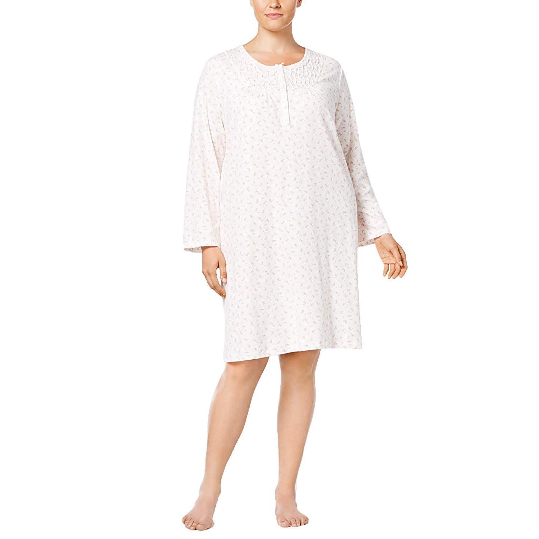 Miss-Elaine-Women-039-s-Plus-Size-Printed-Knit-Nightgown thumbnail 3