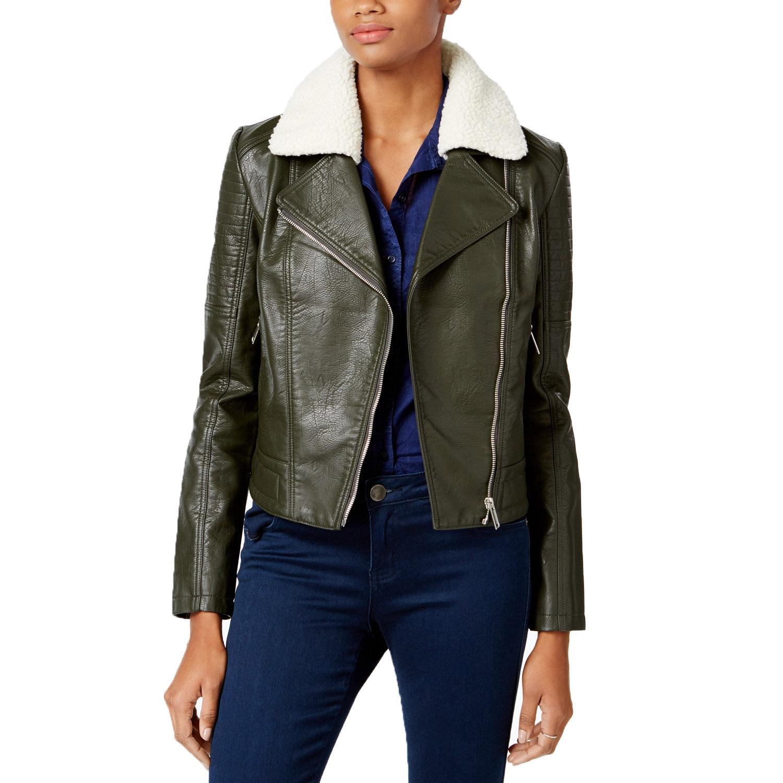 Maralyn /& Me Juniors/' Hooded Faux-Leather Moto Jacket NWOT