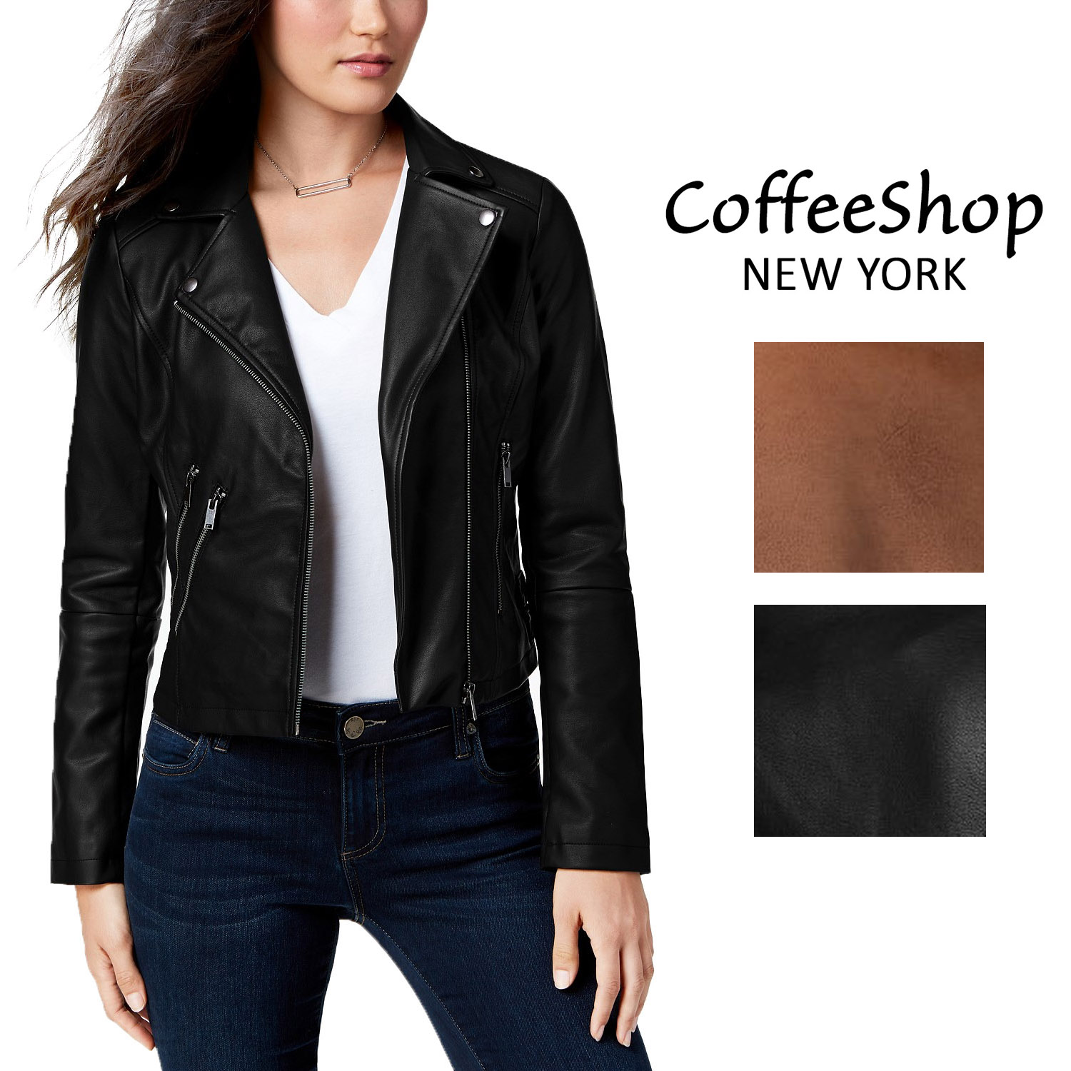 most popular how to serch moderate cost Details about CoffeeShop Juniors' Faux-Leather Moto Jacket