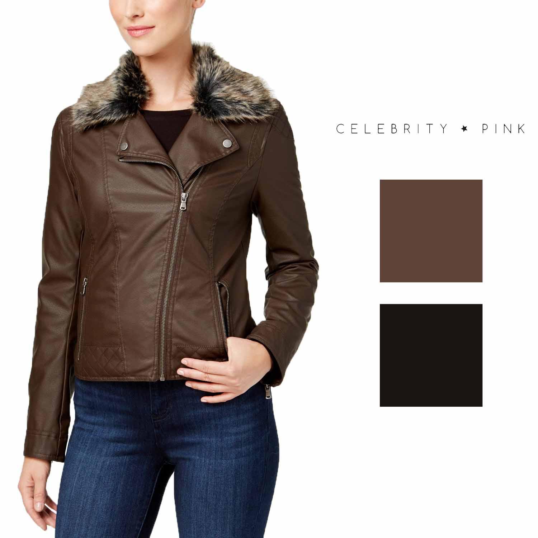 Celebrity Pink Juniors Faux-Fur-Collar Faux-Leather Moto Jacket