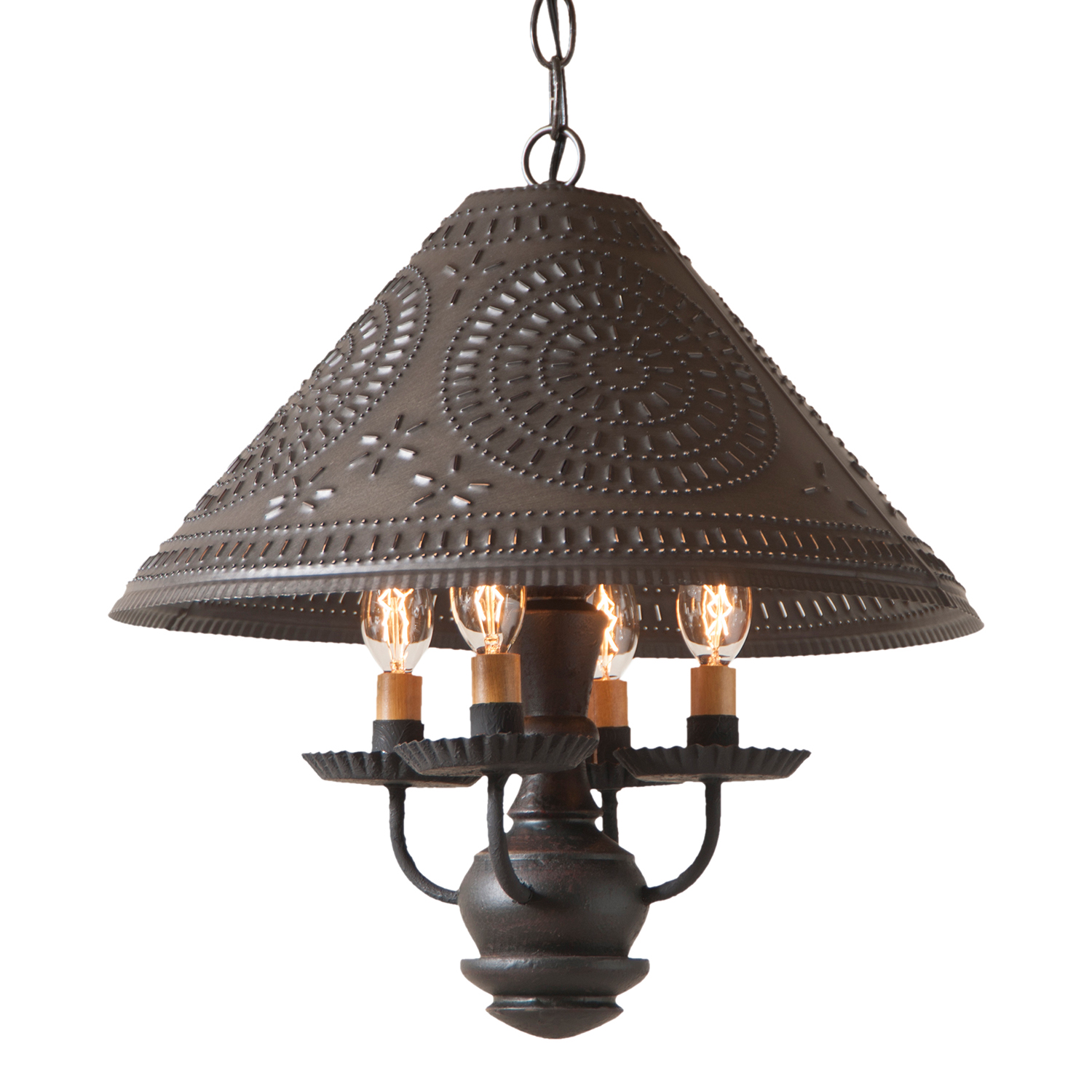 WOOD and PUNCHED TIN PENDANT LIGHT Rustic Country ...