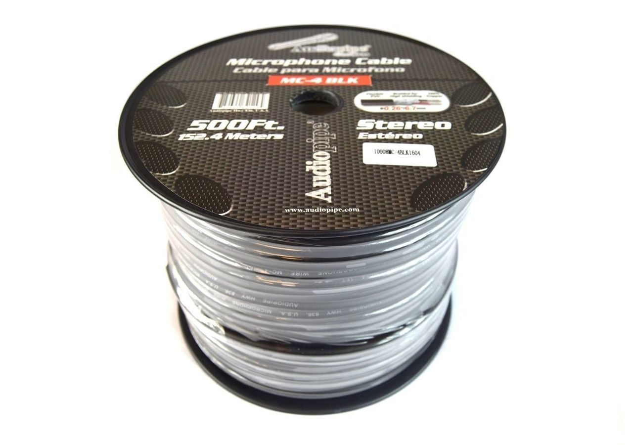 Audiopipe 500 Feet Black Microphone Cable Wire 20 Gauge