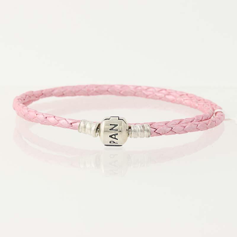 bracciale pandora cuoio rosa