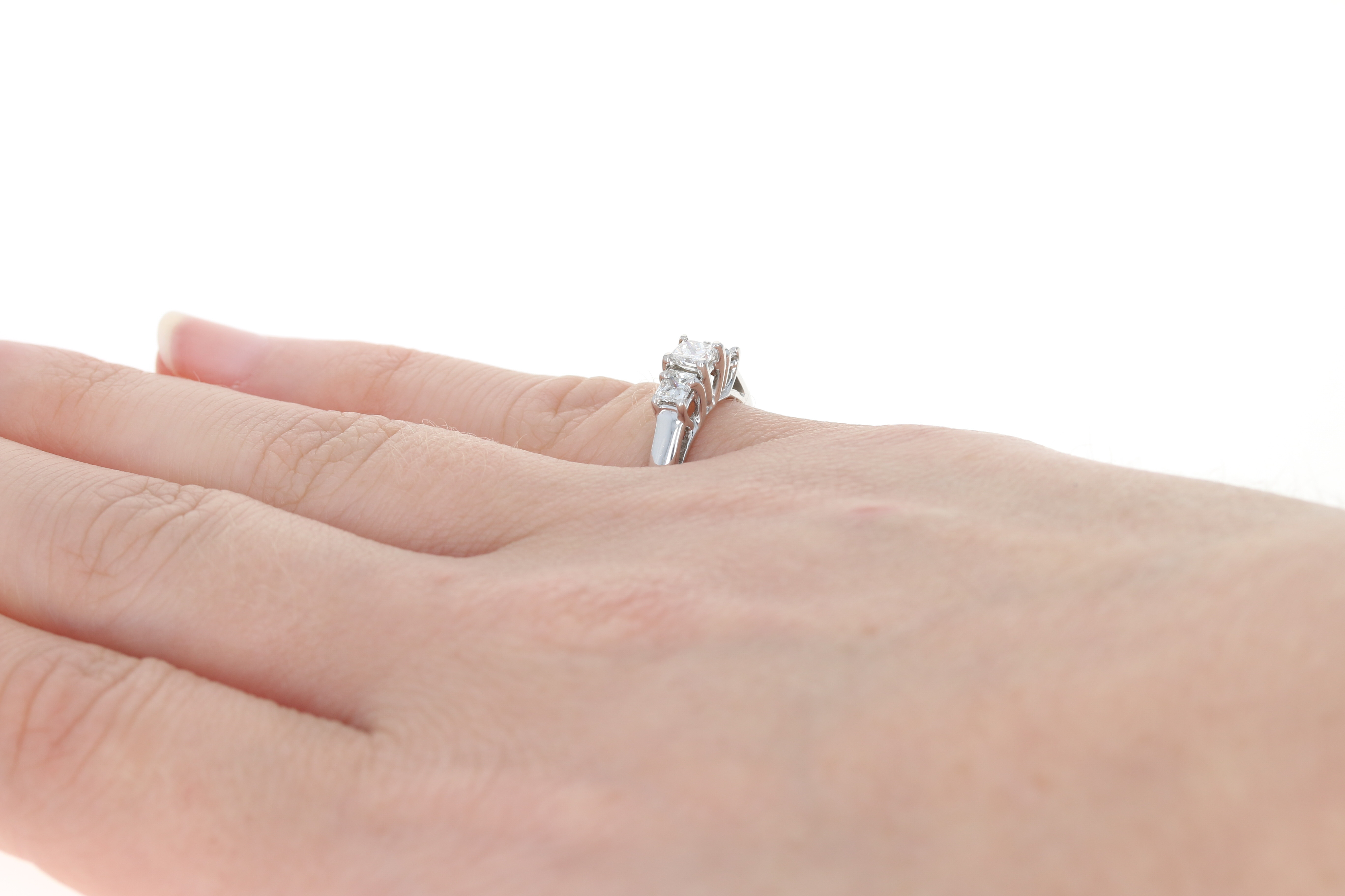 Diamond Three-Stone Engagement Ring - 14k Gold Band Princess ...