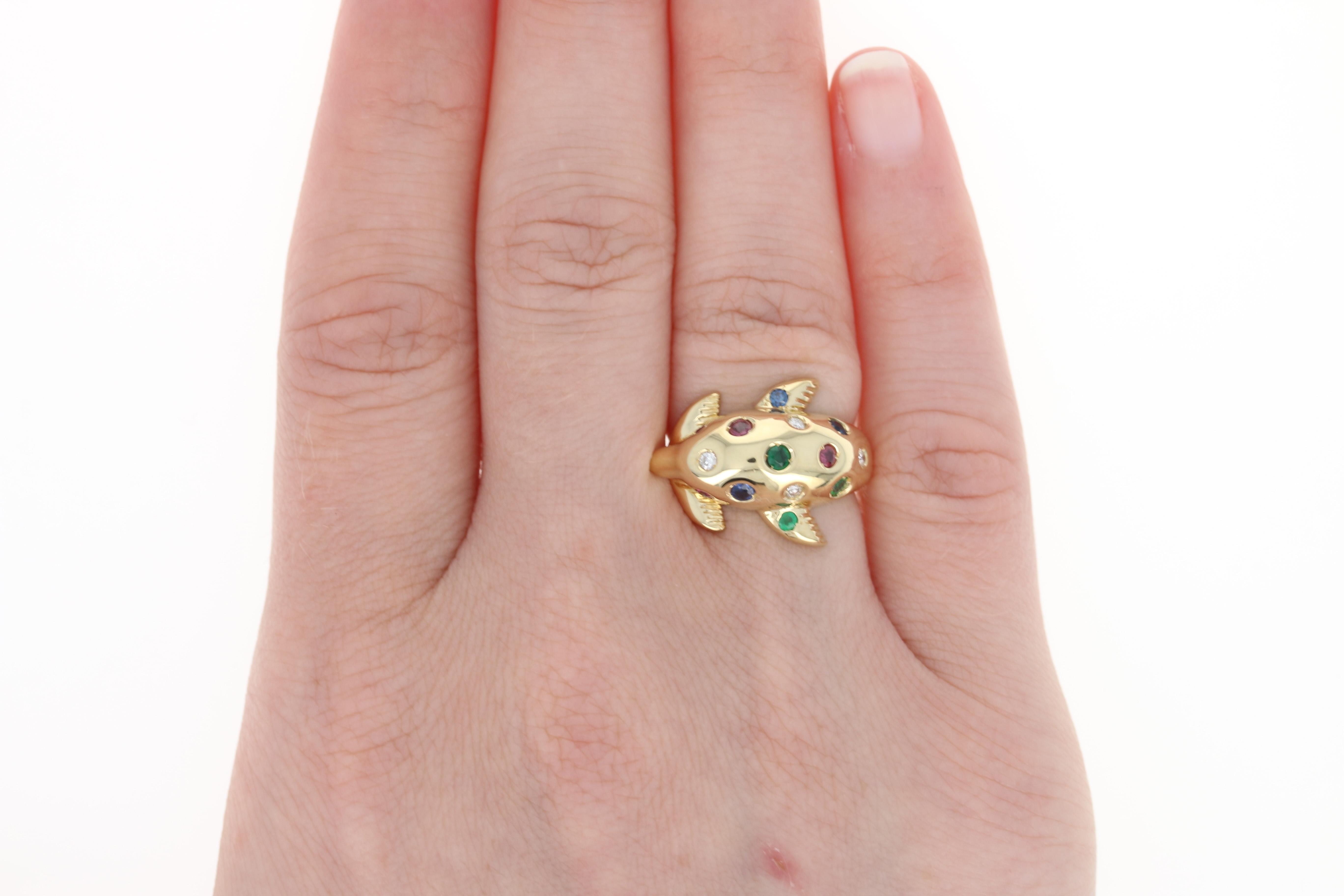 Multi-Gemstone Dolphin Ring - 18k Gold Ruby Sapphire Emerald Diamond ...