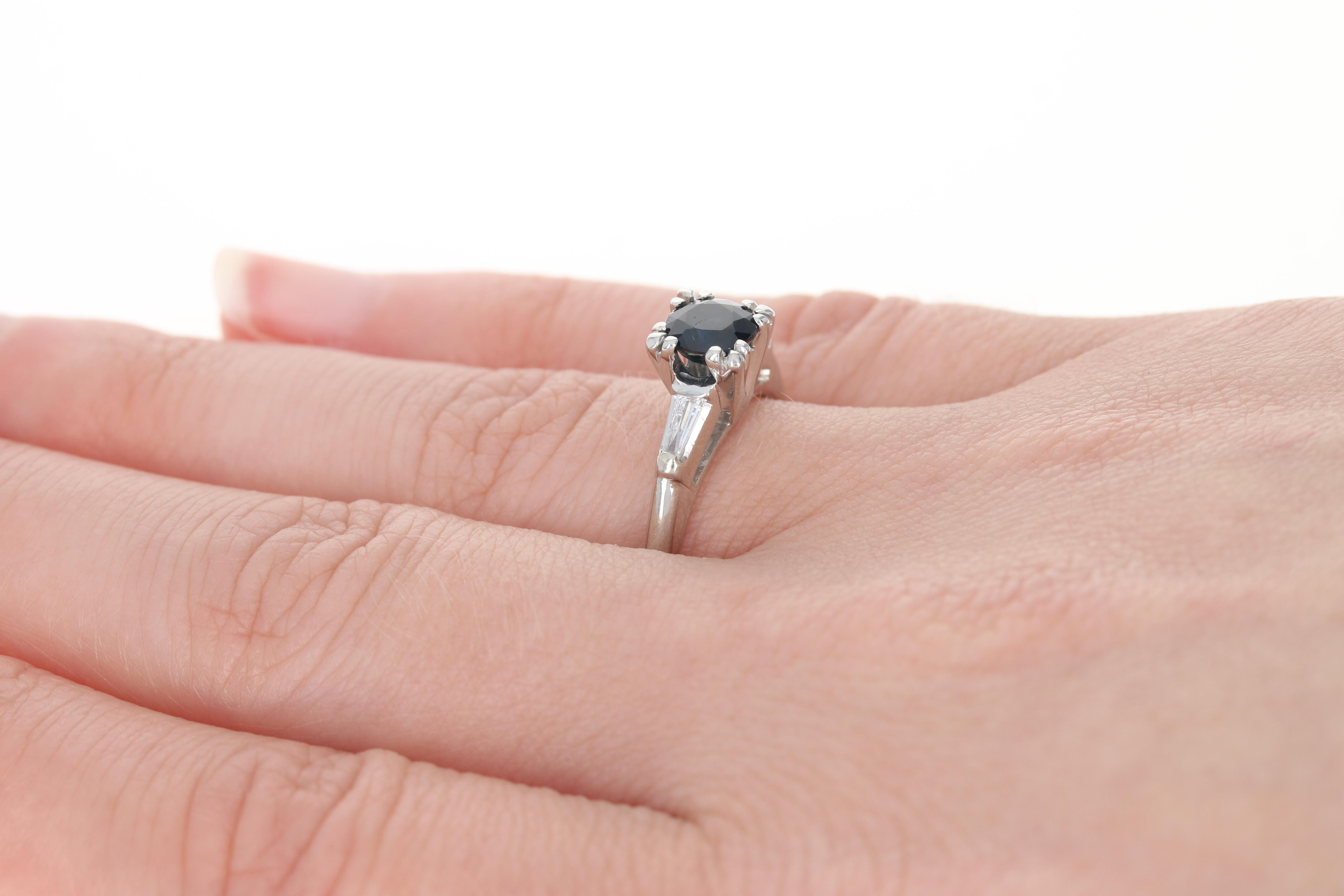 Vintage Sapphire & Diamond Engagement Ring - 900 Platinum Round Cut ...