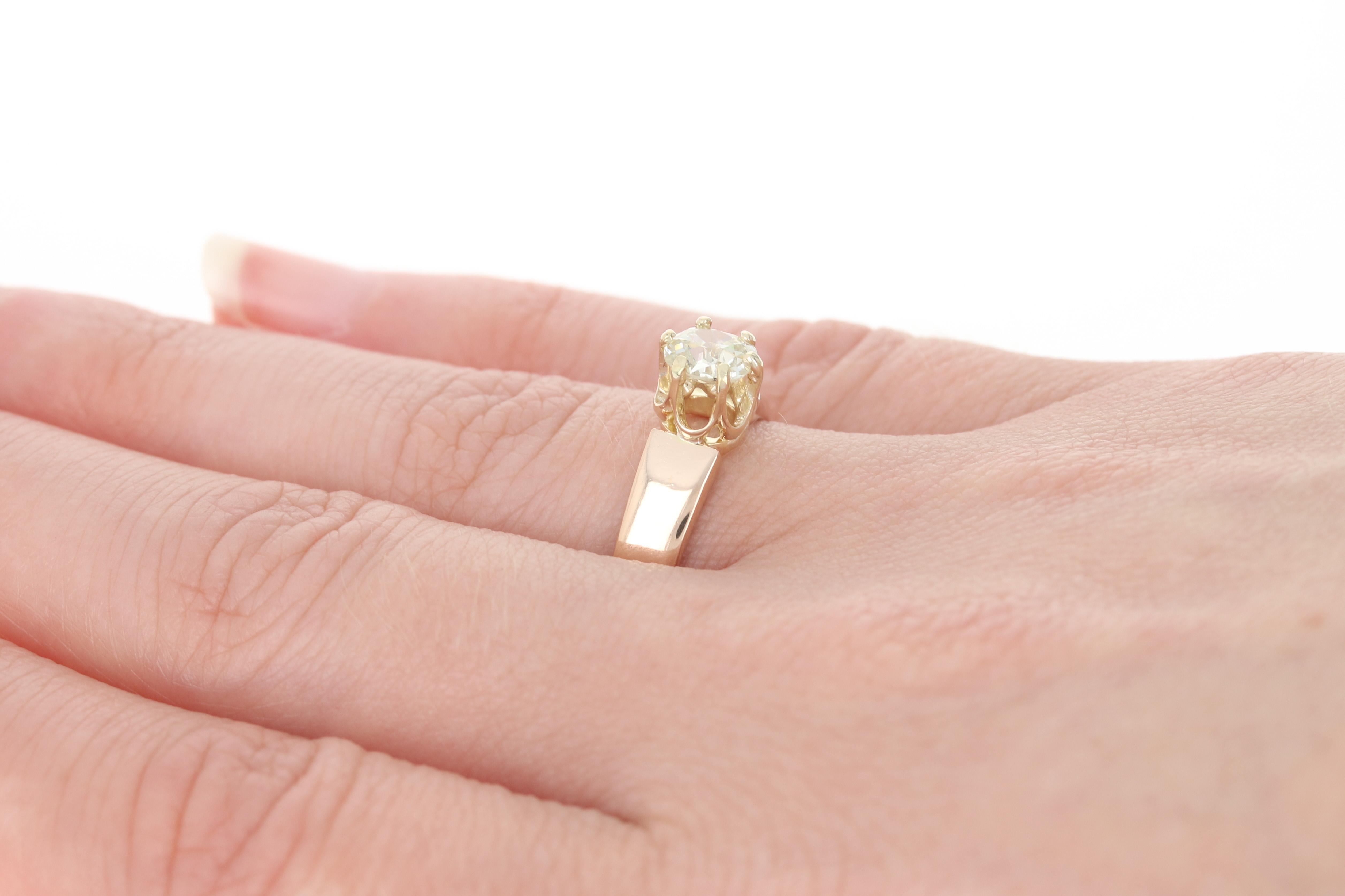 Edwardian Diamond Engagement Ring - 14k Gold Antique Solitaire Mine ...