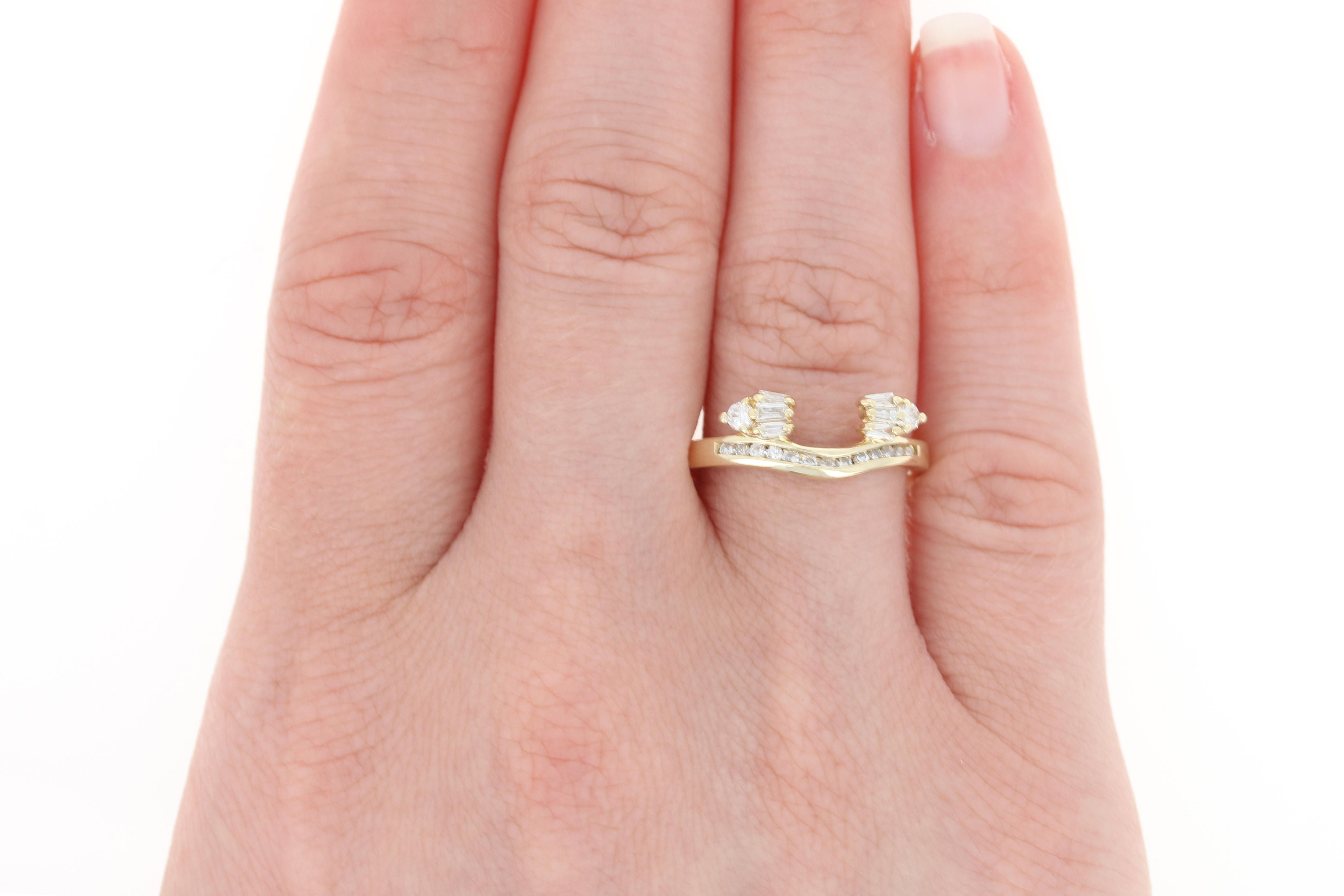 Diamond Enhancer Wedding Band - 14k Yellow Gold Guard Ring Baguette ...
