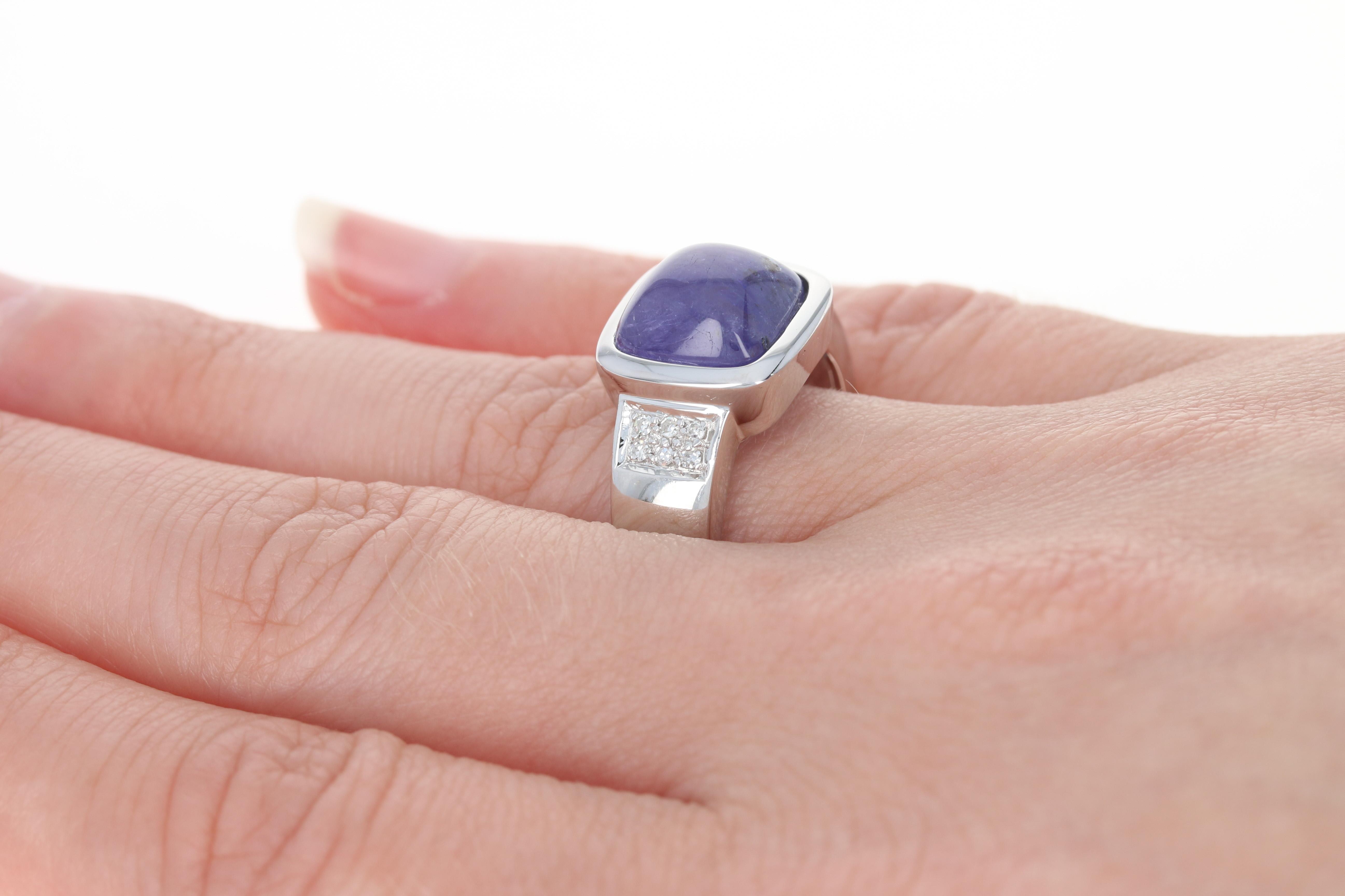 Tanzanite & Diamond Ring - 14k White Gold Size 8 1/4 Cabochon   eBay