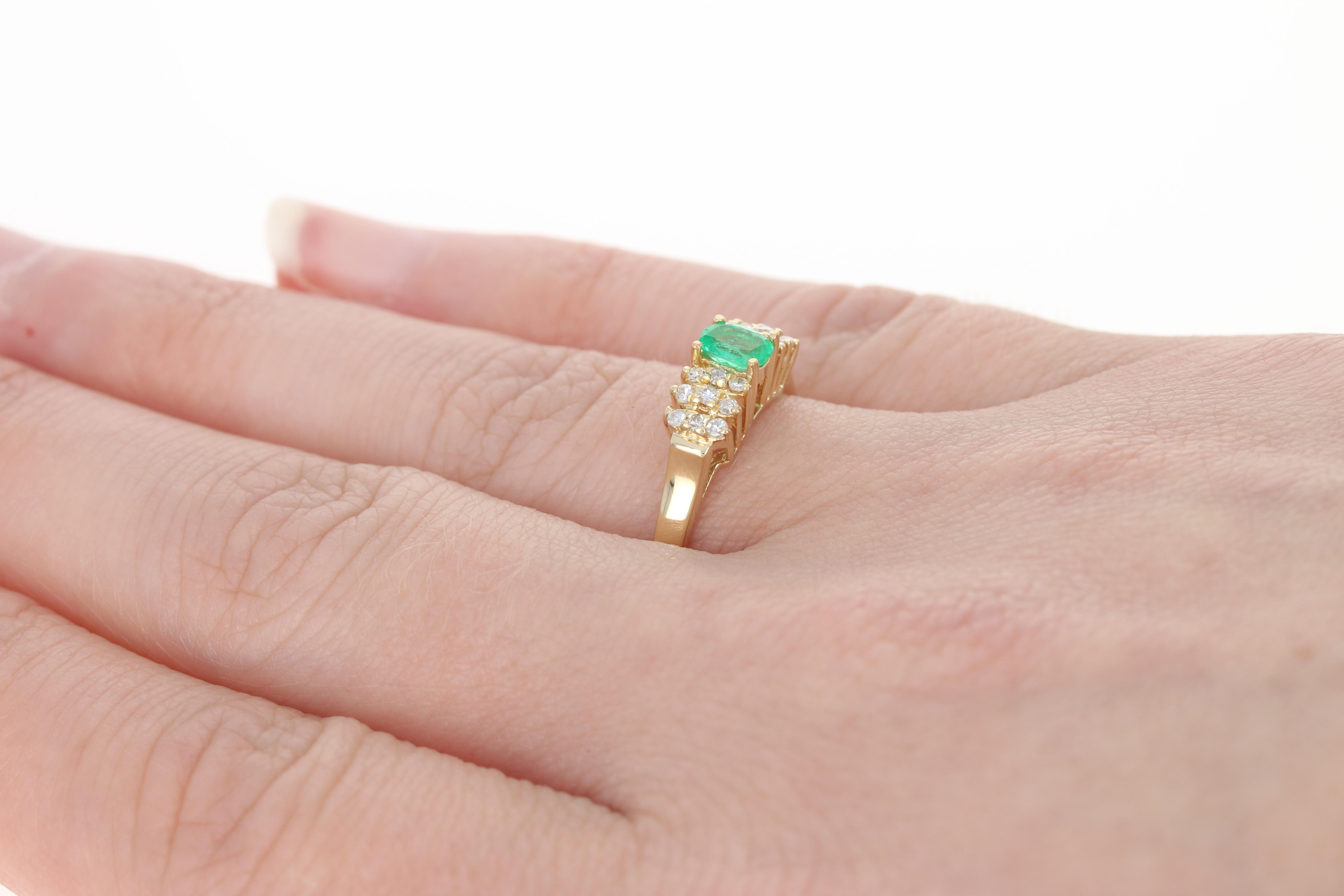 Emerald & Diamond Ring - 18k Yellow Gold Oval Brilliant .27ctw | eBay