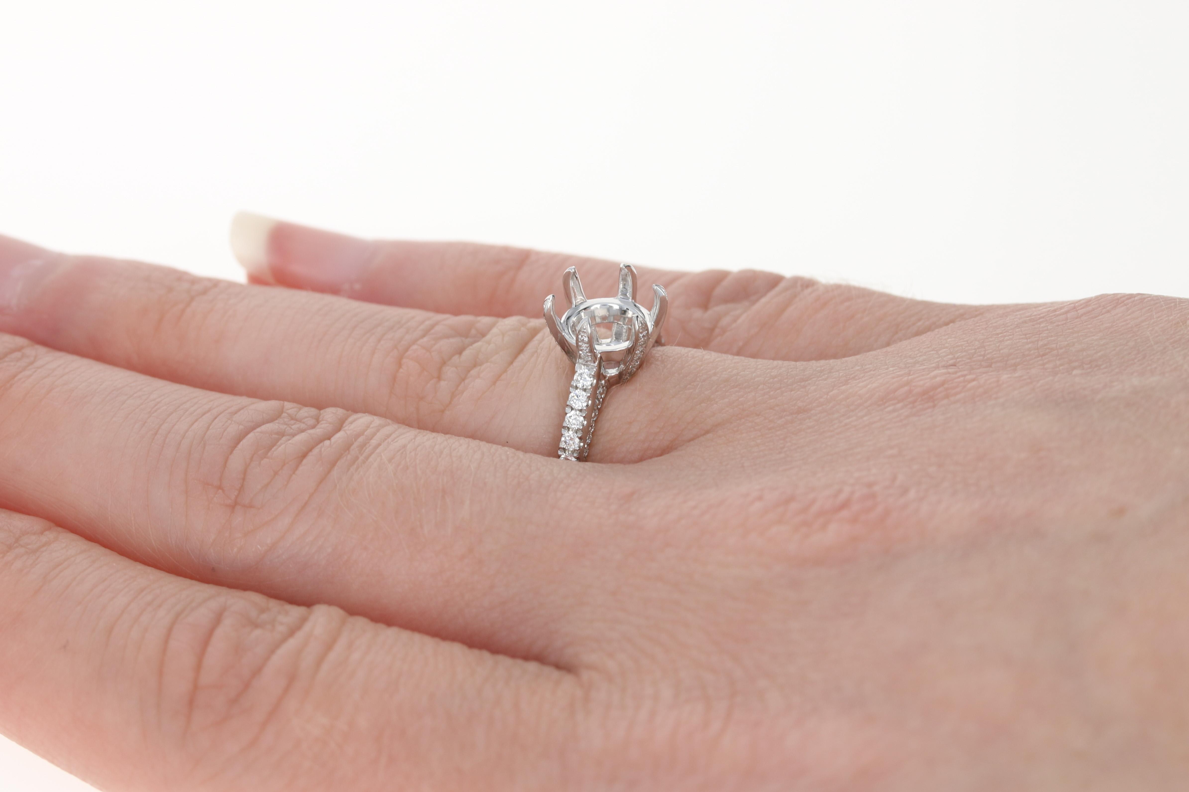 NEW Semi-Mount Engagement Ring - 950 Platinum Diamond Accents Round ...