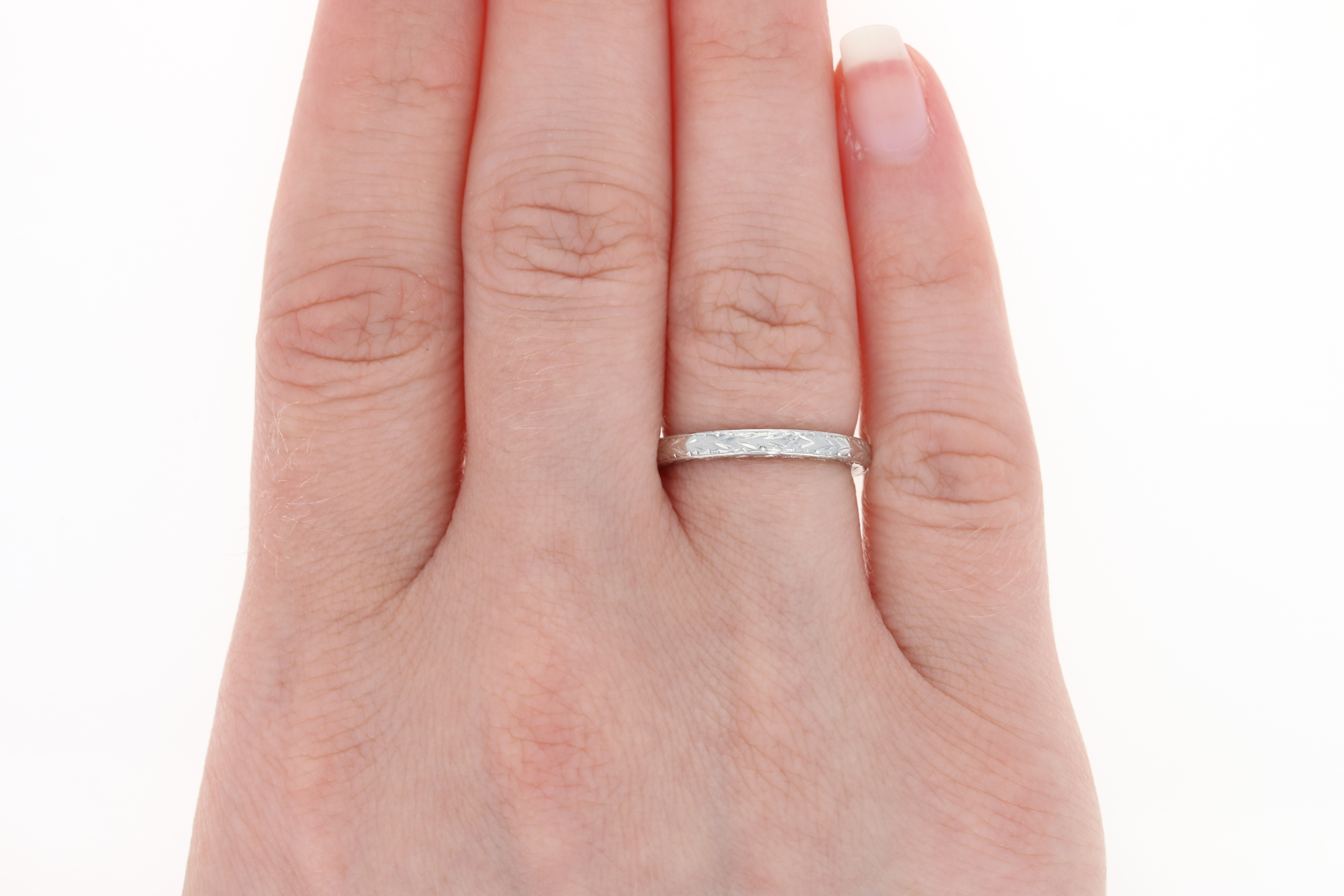 Etched Wedding Band - 950 Platinum Women\'s Ring Size 5 3/4 - 6   eBay