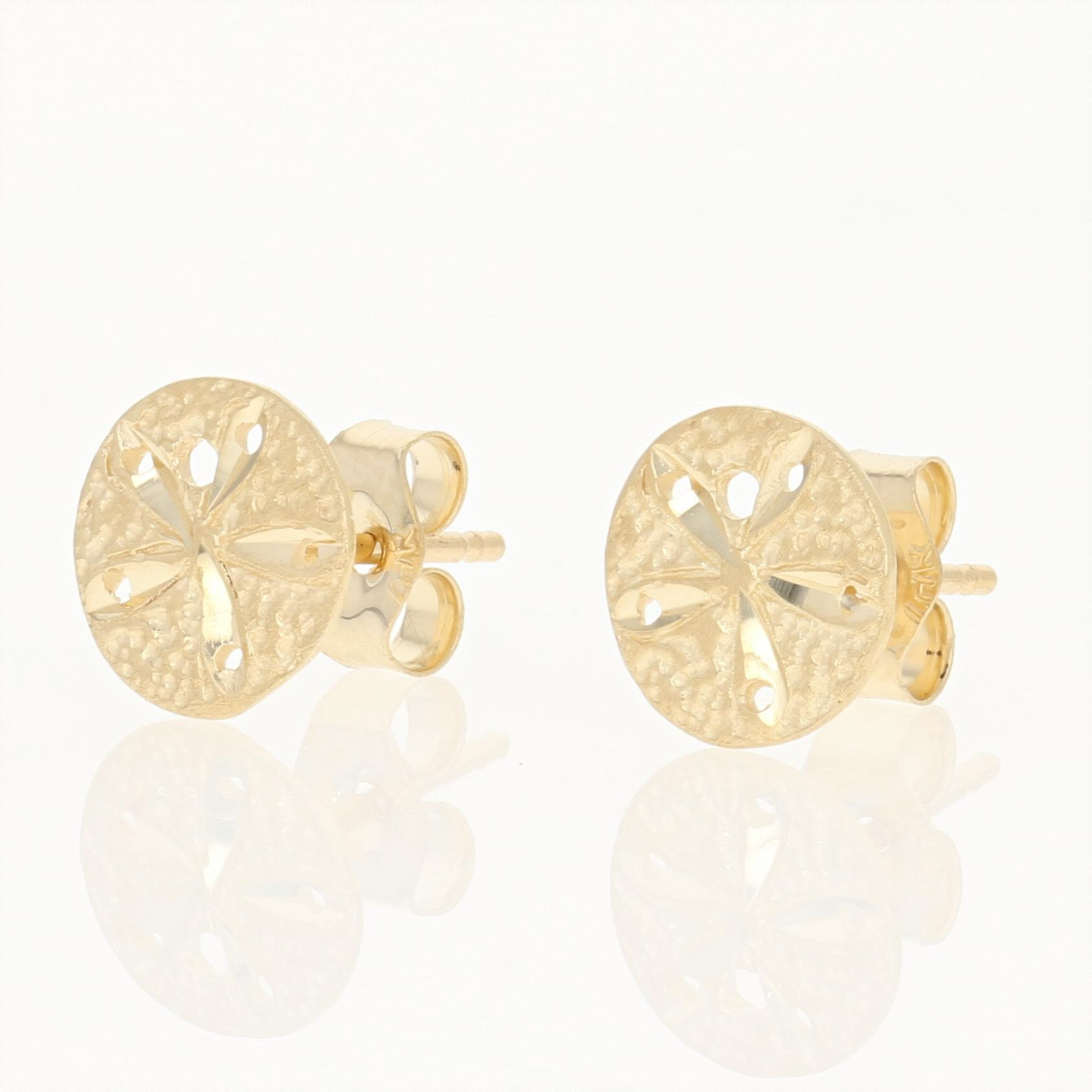 ea3633d99 Sand Dollar Earrings 14k Yellow Gold Beach Nautical Pierced Studs
