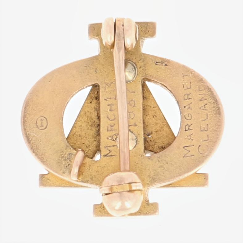 Alpha-Phi-Sorority-Insignia-10k-Oro-Amarillo-Esmalte-1937-Griego-Sociedad-Pin miniatura 3