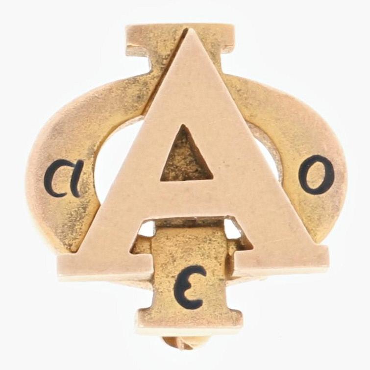 Alpha-Phi-Sorority-Insignia-10k-Oro-Amarillo-Esmalte-1937-Griego-Sociedad-Pin