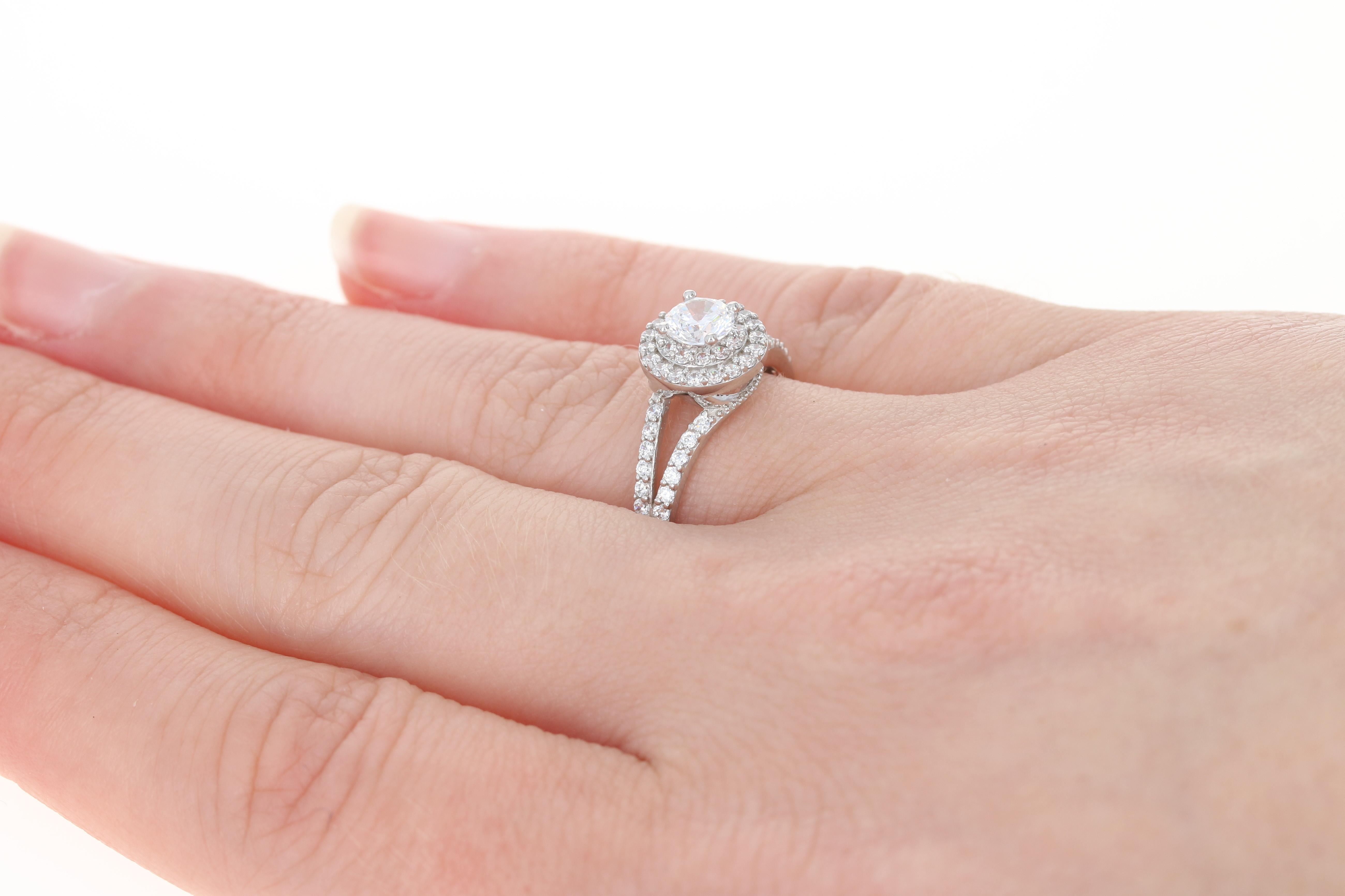 Cubic Zirconia Double Halo Engagement Ring - 14k White Gold CZs   eBay