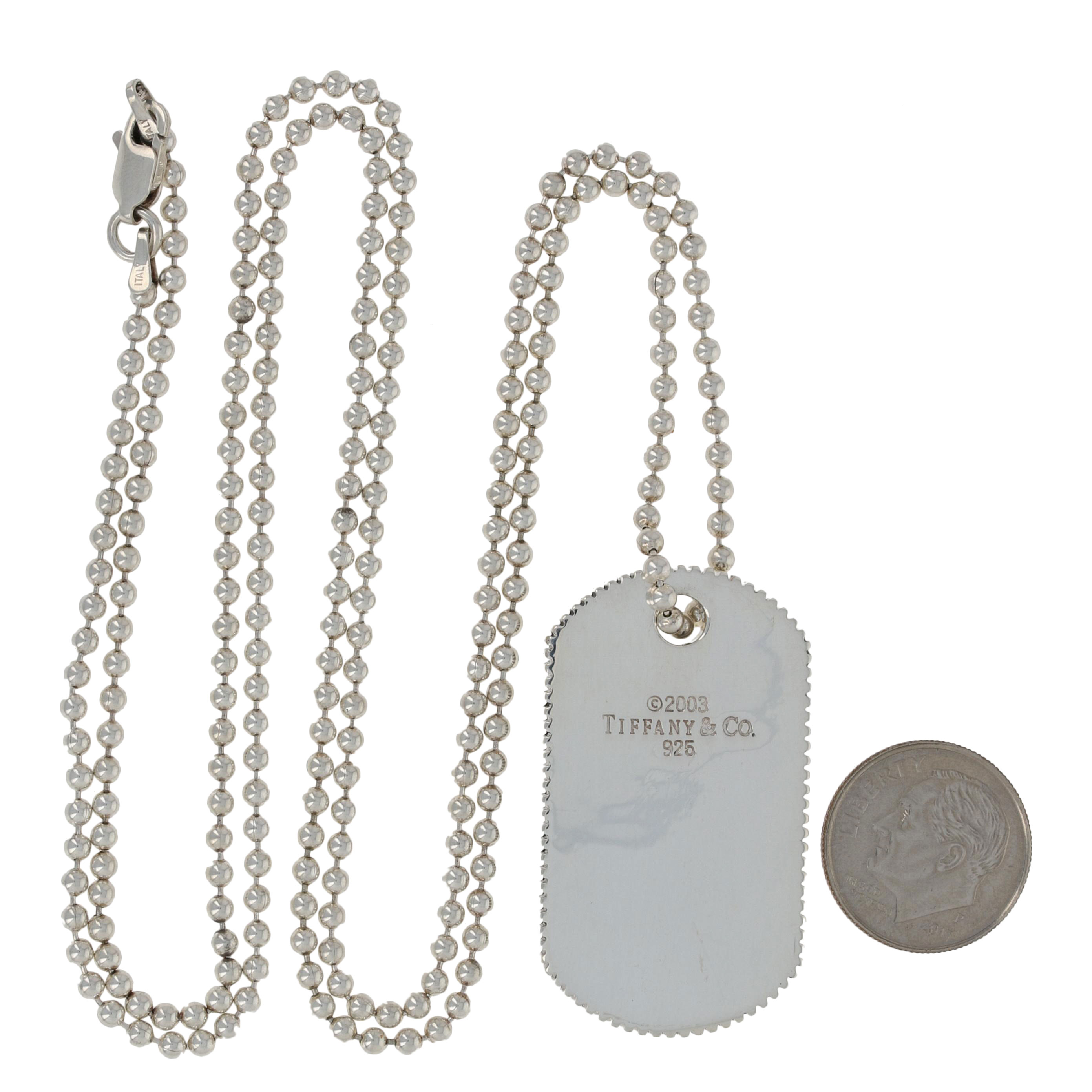 be46662b2 Tiffany & Co. Men's Coin Edge Tag Pendant Necklace Sterling w/Non ...