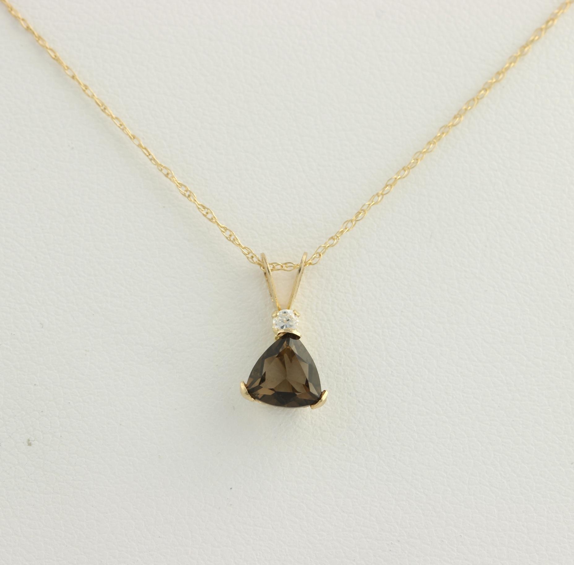 New smoky quartz pendant necklace 10k yellow gold cz accent 18 click thumbnails to enlarge aloadofball Images