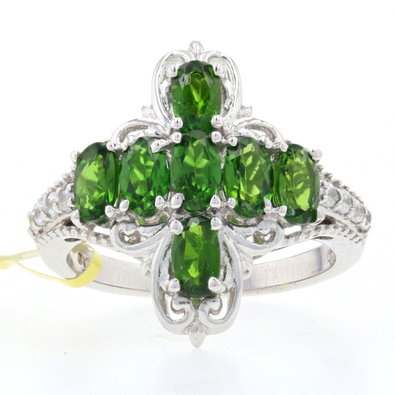 925 Sterling Silver 1.07cts size 5 Chrome Diopside /& White Zircon Ring