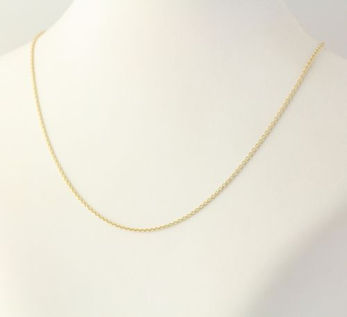 gold solid long c necklace yellow baht in flat polished cable chain