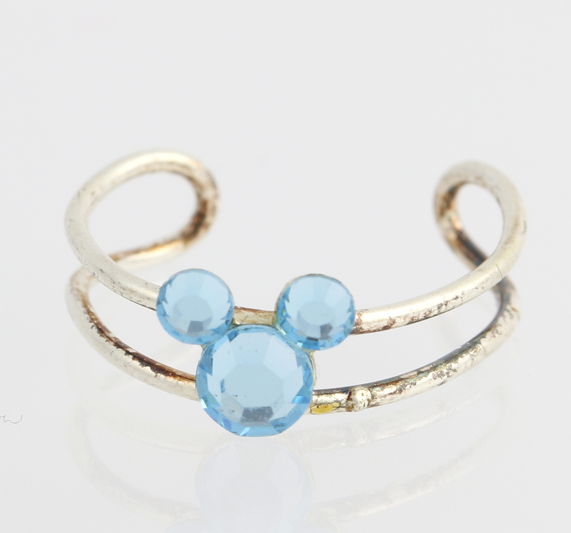 NEW Mickey Blue Crystal Toe Ring Sterling Silver Disney Adjustable Size