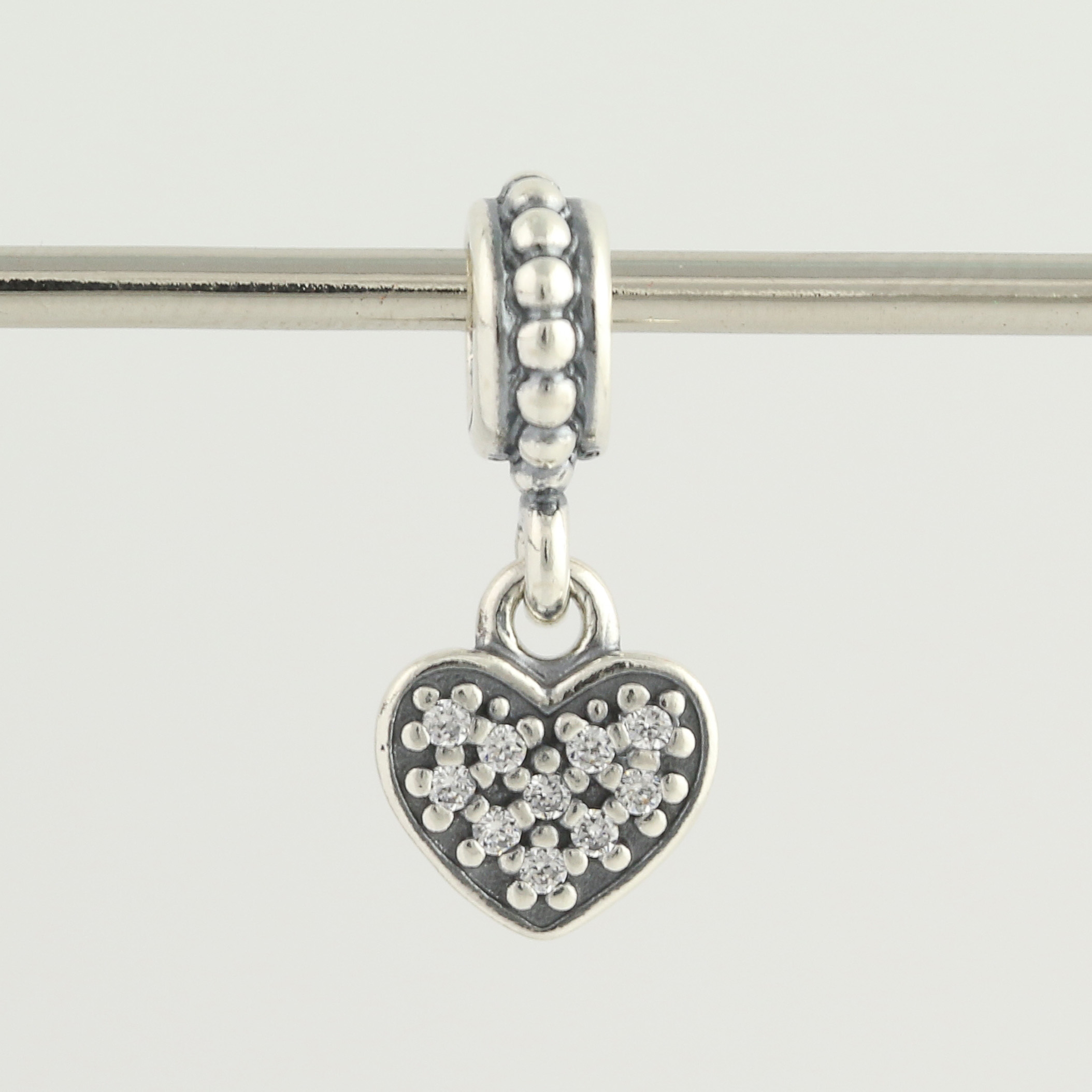 947e9899d New Pandora Bead Charm - Sterling Silver 791023CZ Pave Heart Clear ...