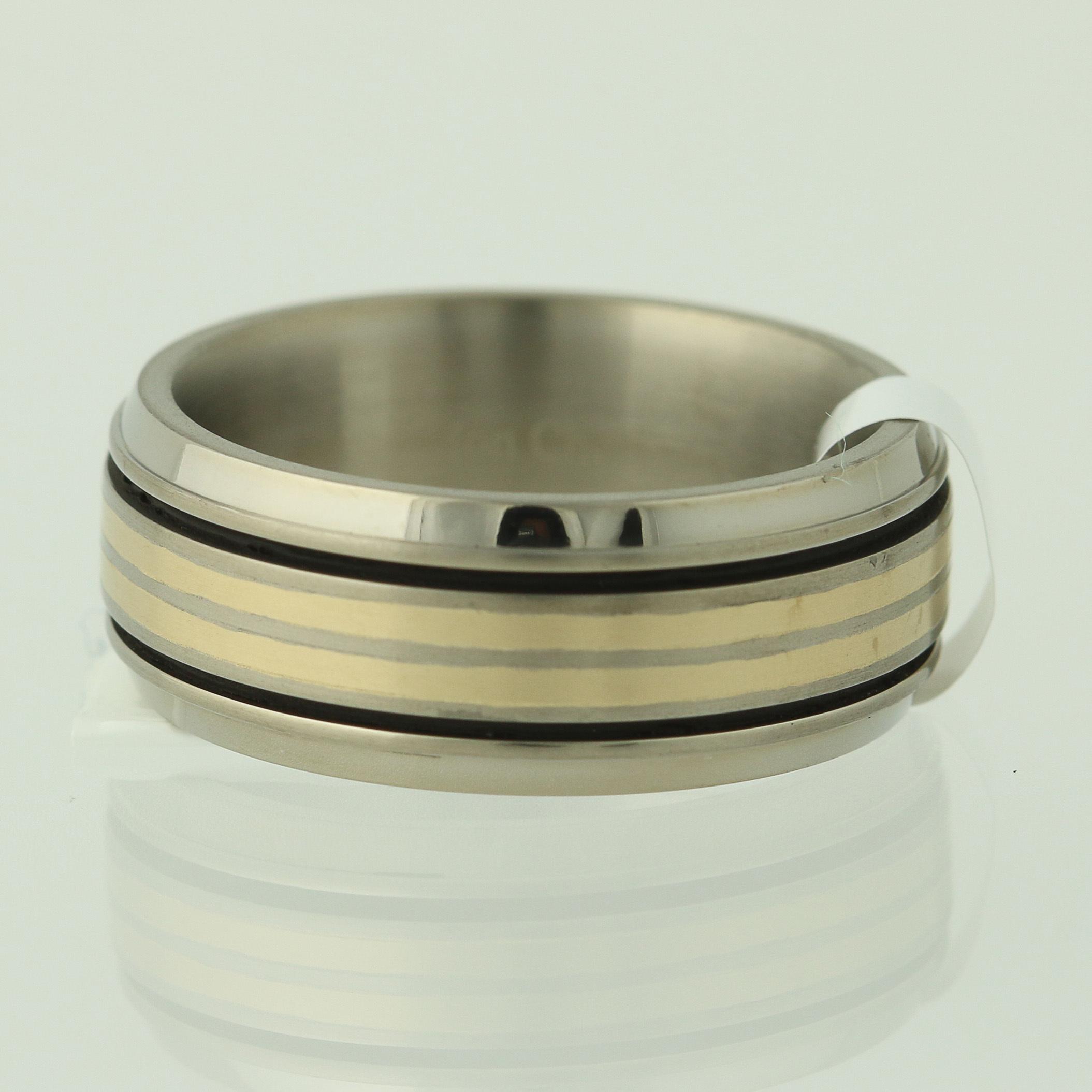 NEW Men/'s Wedding Band Titanium /& 18k Ring 8 Comfort Fit Gold Mon Cheri 2-Toned