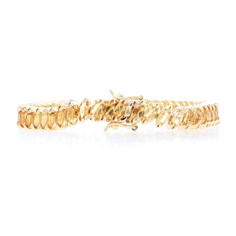 Sterling Silver Peridot Link Bracelet 7 14-925 Gold Plated Oval Cut 21.00ctw