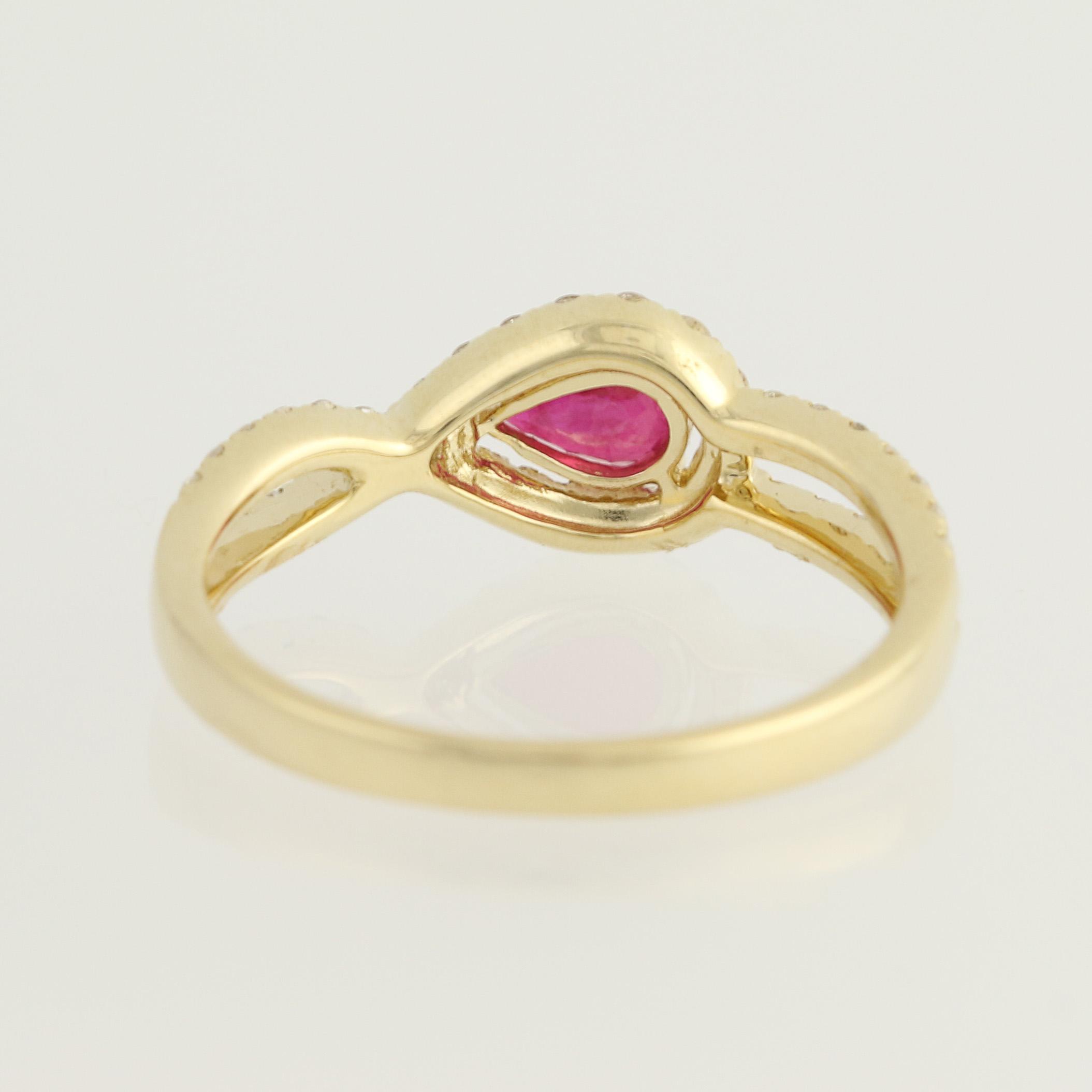9ct Oro Rosa Diamante Anillo nudo de amor