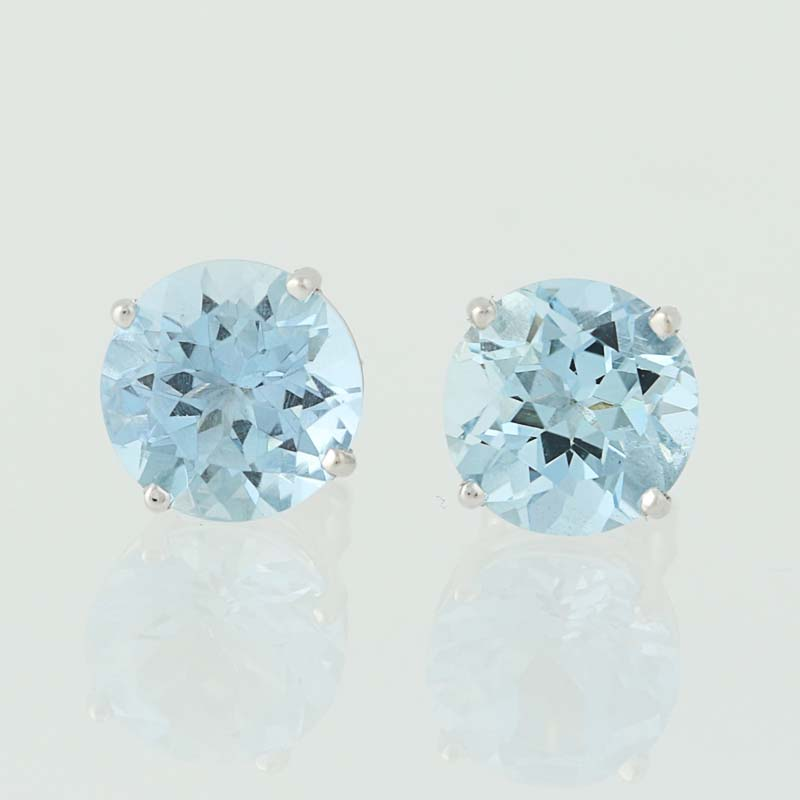 Details About New Aquamarine Stud Earrings 18k White Gold March Birthstone Pierced 3 68ctw