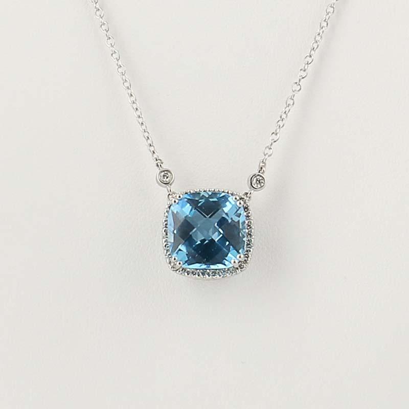 2bc5356fc219d Details about Gabriel & Co. Blue Topaz & Diamond Necklace 15 1/2