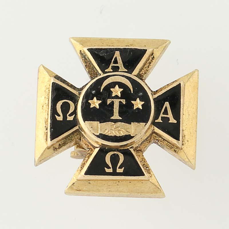 Alpha Tau Omega Badge 14k Yellow Gold Enamel Fraternity Vintage