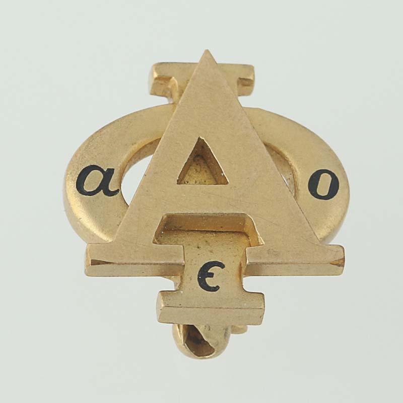 2a7e0b92cf66 Alpha Phi Badge - 14k Yellow Gold Enamel Sorority Pin Greek Society Vintage