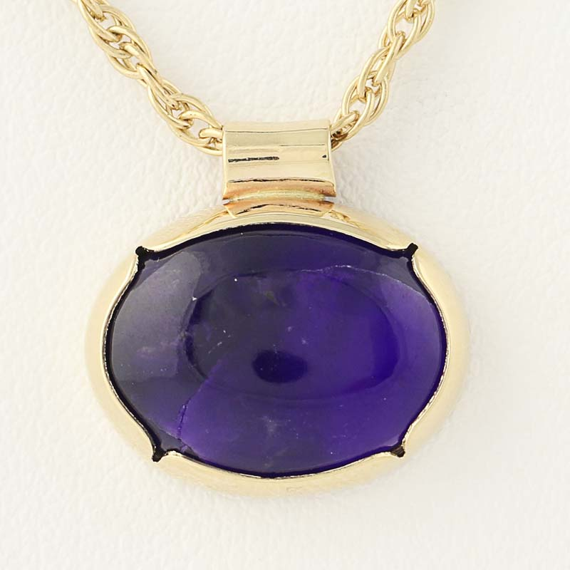 Sugilite pendant necklace 20 12 14k yellow gold amethyst accents click thumbnails to enlarge aloadofball Images