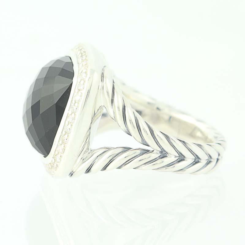 david yurman 14mm onyx albion ring sterling silver diamond halo 30ctw