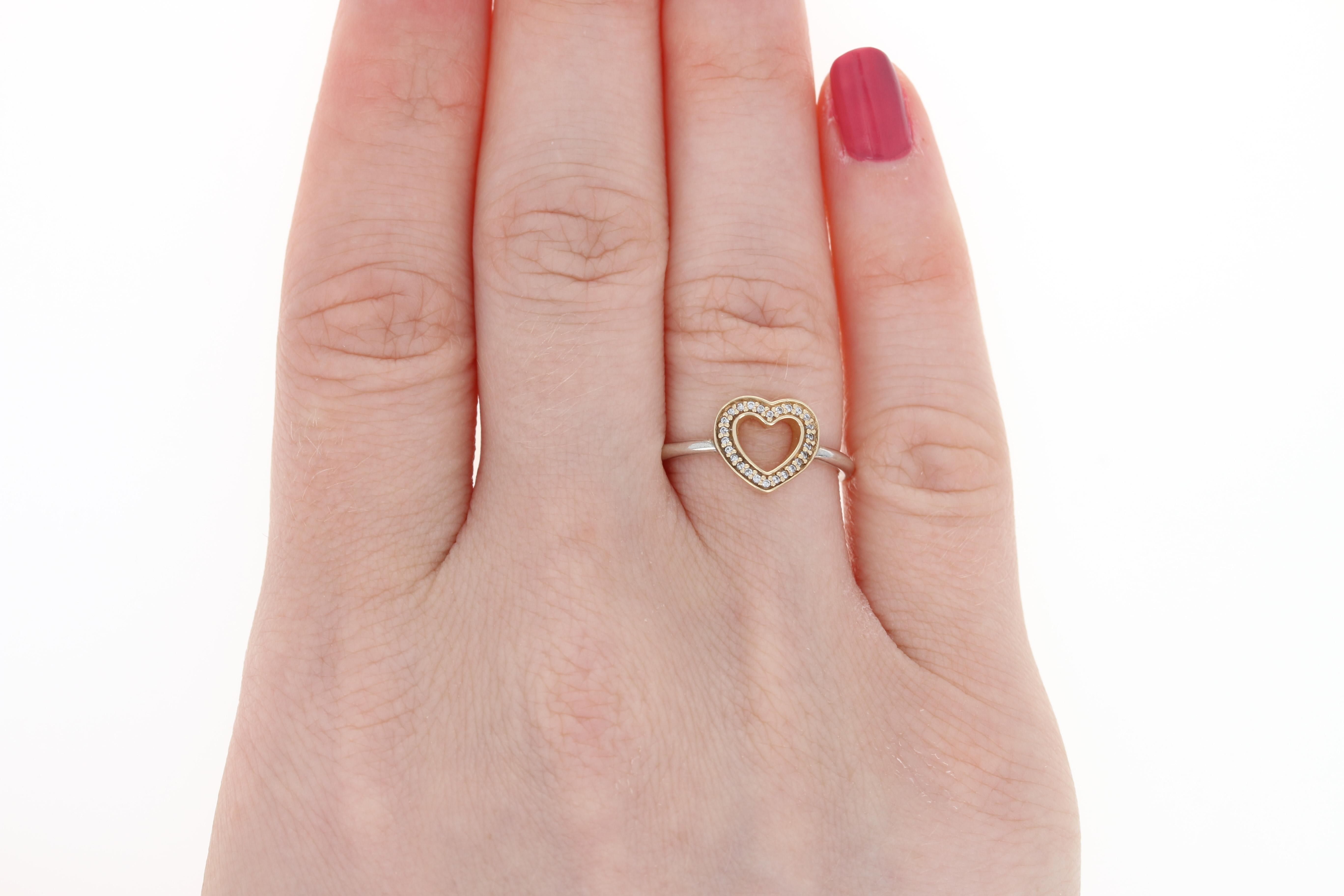 NEW Pandora Symbol of Love Ring Sterling Silver 14k Yellow Gold ...
