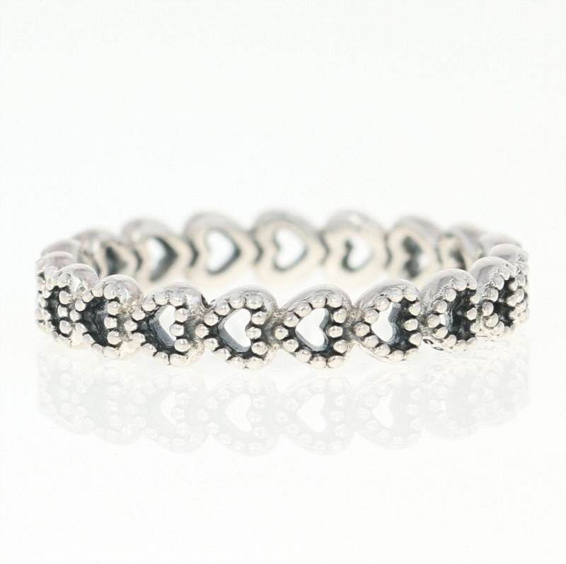 5eda935da NEW Authentic Pandora Linked Love Ring Sterling Silver Hearts 56 (US 7.5)  190980