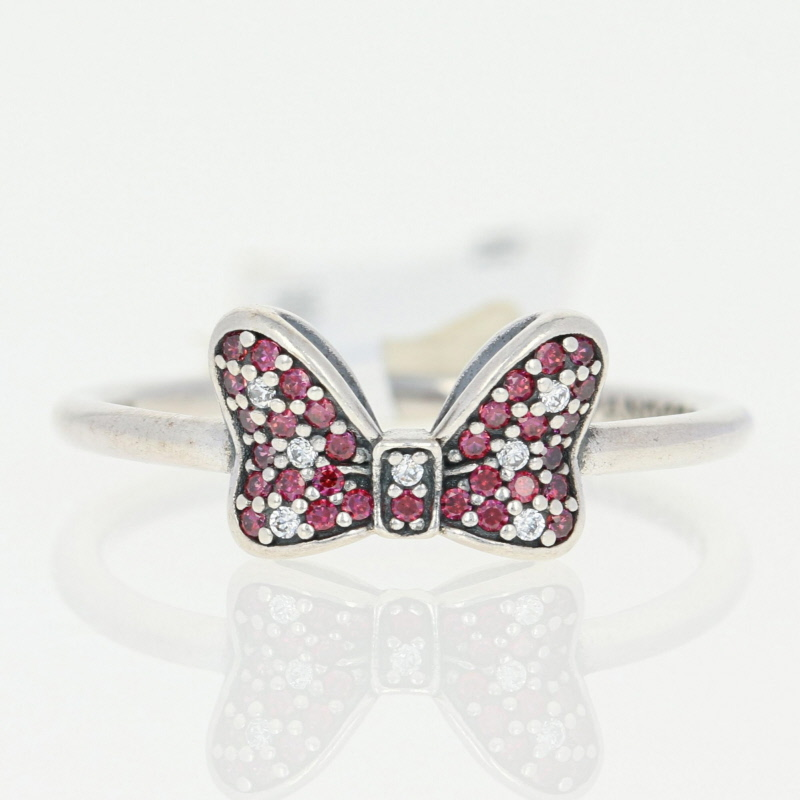 1b5f3835a0319 Details about NEW Authentic Pandora Minnie's Sparkling Bow Ring Sterling  Red 56(7.5) 190956CZR