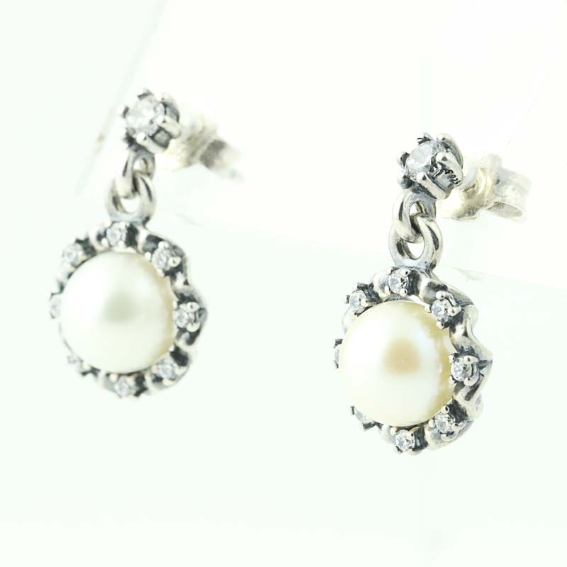 c6376fdc7 New Authentic Pandora Everlasting Grace Drop Earrings 290562P Sterling Pearl  CZ