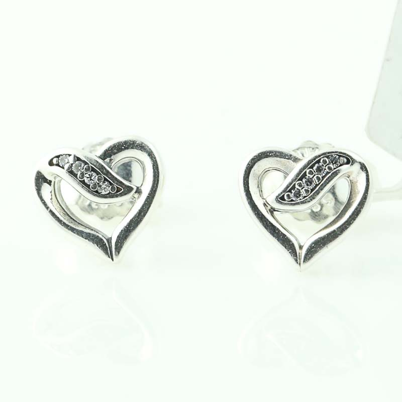 a772d4f50bf33 Details about NEW Authentic Pandora Ribbons of Love Earrings - Sterling  Heart Studs 290736CZ