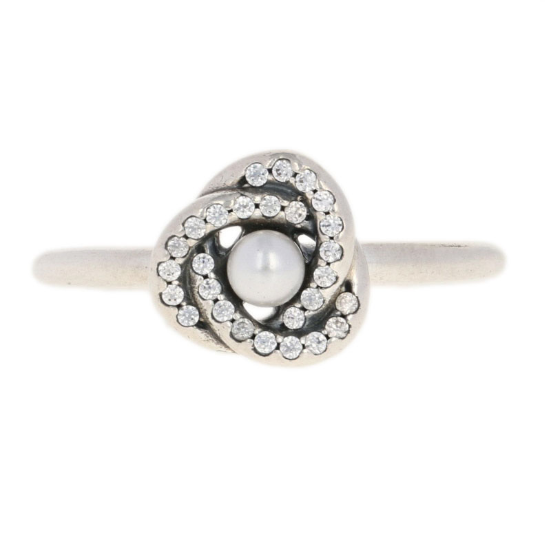 538663975 NEW Authentic Pandora Luminous Love Knot Ring - Sterling Pearl 50 (5 ...