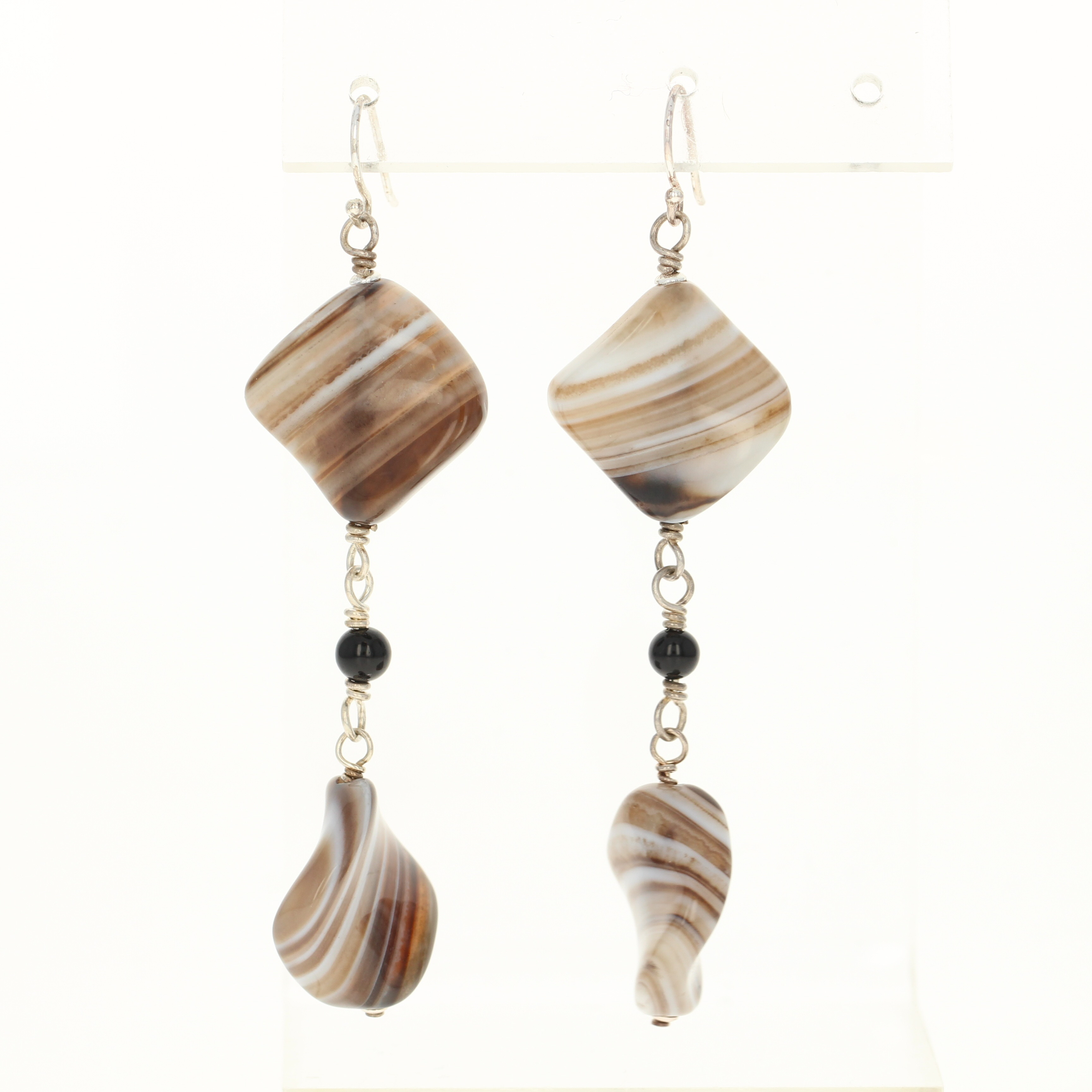 Details About New Banded Agate Dangle Earrings Sterling Silver Hook Posts Pierced Brown Stone
