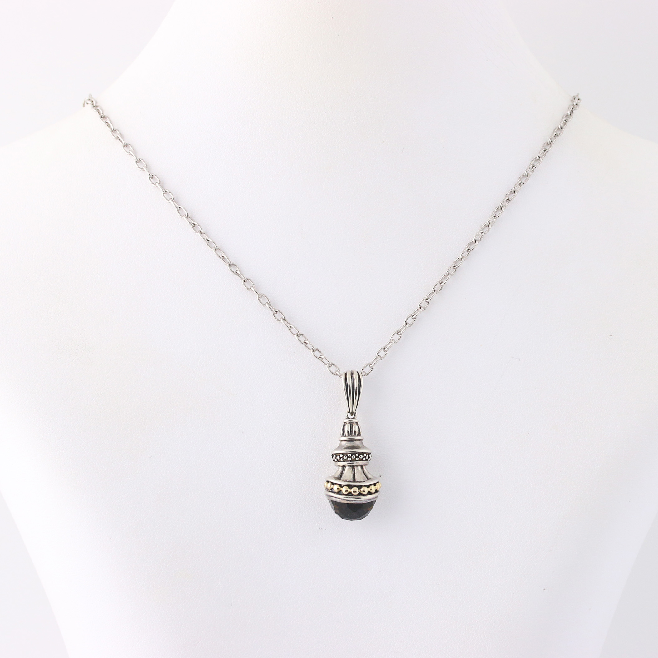 New smoky quartz pendant necklace 18 14 sterling silver 14k click thumbnails to enlarge aloadofball Image collections