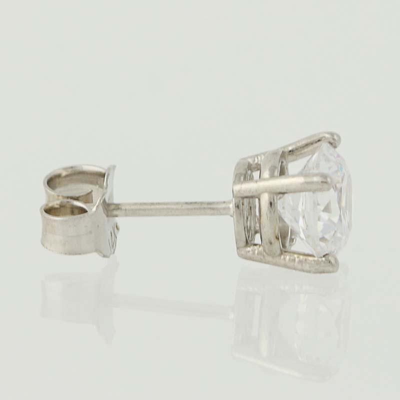 91cbd674b Cubic Zirconia Stud Earrings - 14k White Gold Basket Mount Pierced ...