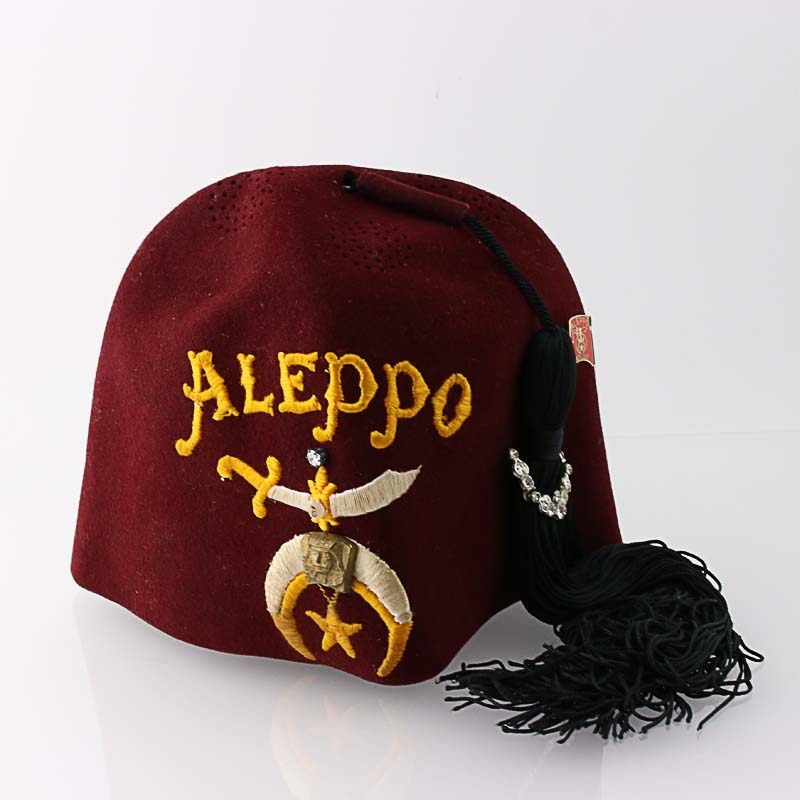 Shriners Fez Hat Vintage Aleppo Masonic Regalia Basch Red ... 4626d6780c88