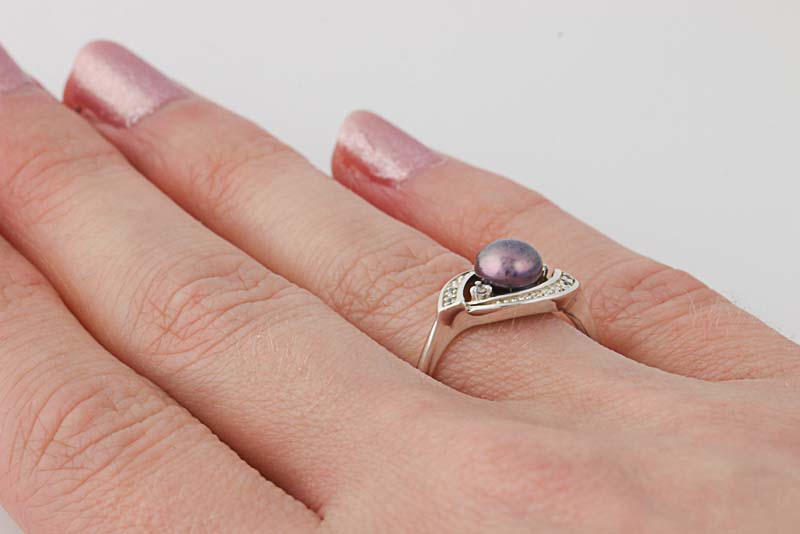 Nvc Silver Pearl  Ring