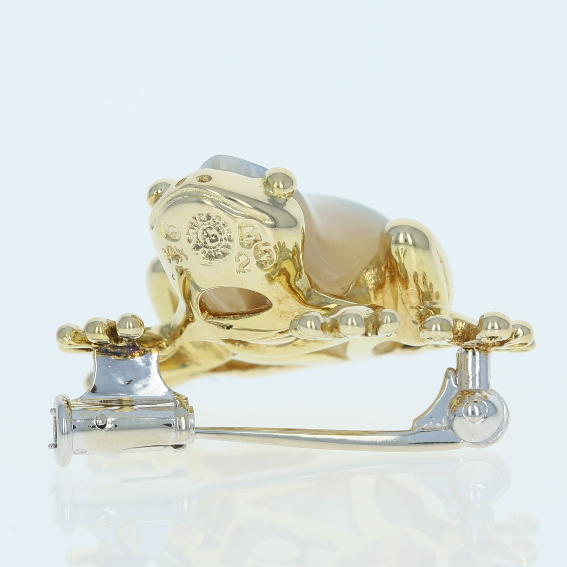 chaussures d'automne grande remise nouveau sélection Details about Mother of Pearl, Lapis, Coral, & Malachite Asch Grossbardt  Frog Brooch 14k Gold