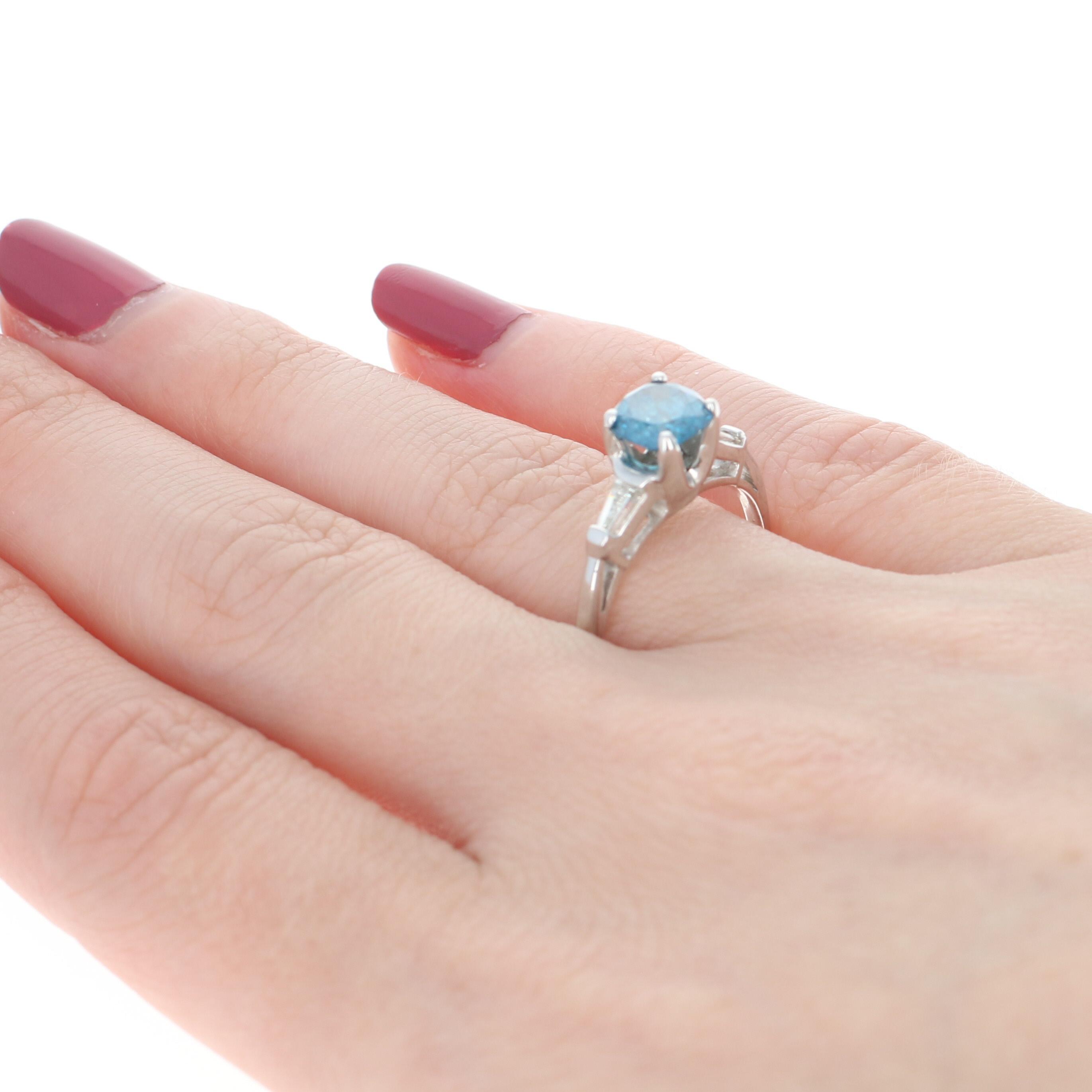 Fancy Blue & White Diamond Engagement Ring - Platinum Cushion Cut ...
