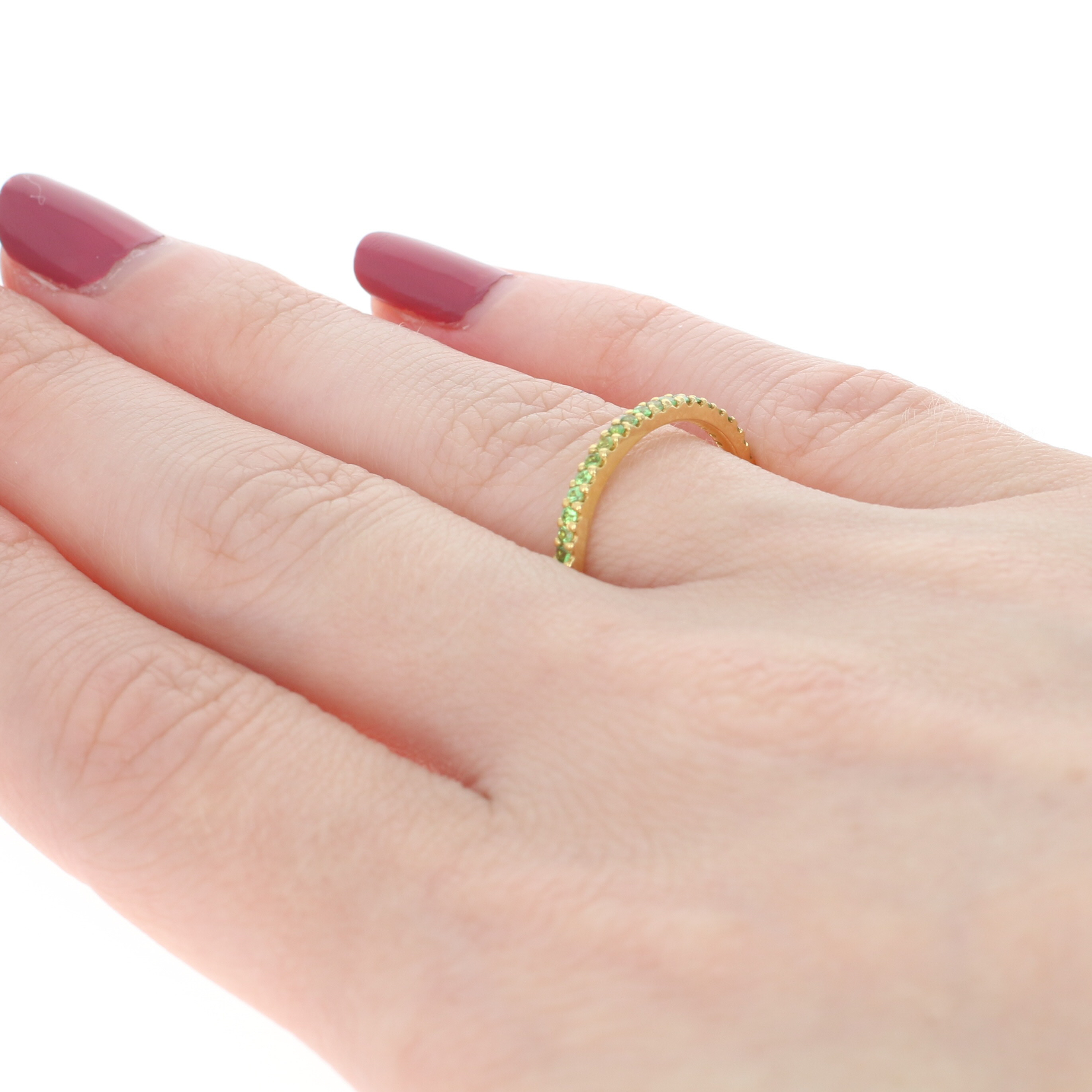 NEW Grossularite Garnet Eternity Band - 18k Yellow Gold Stackable ...