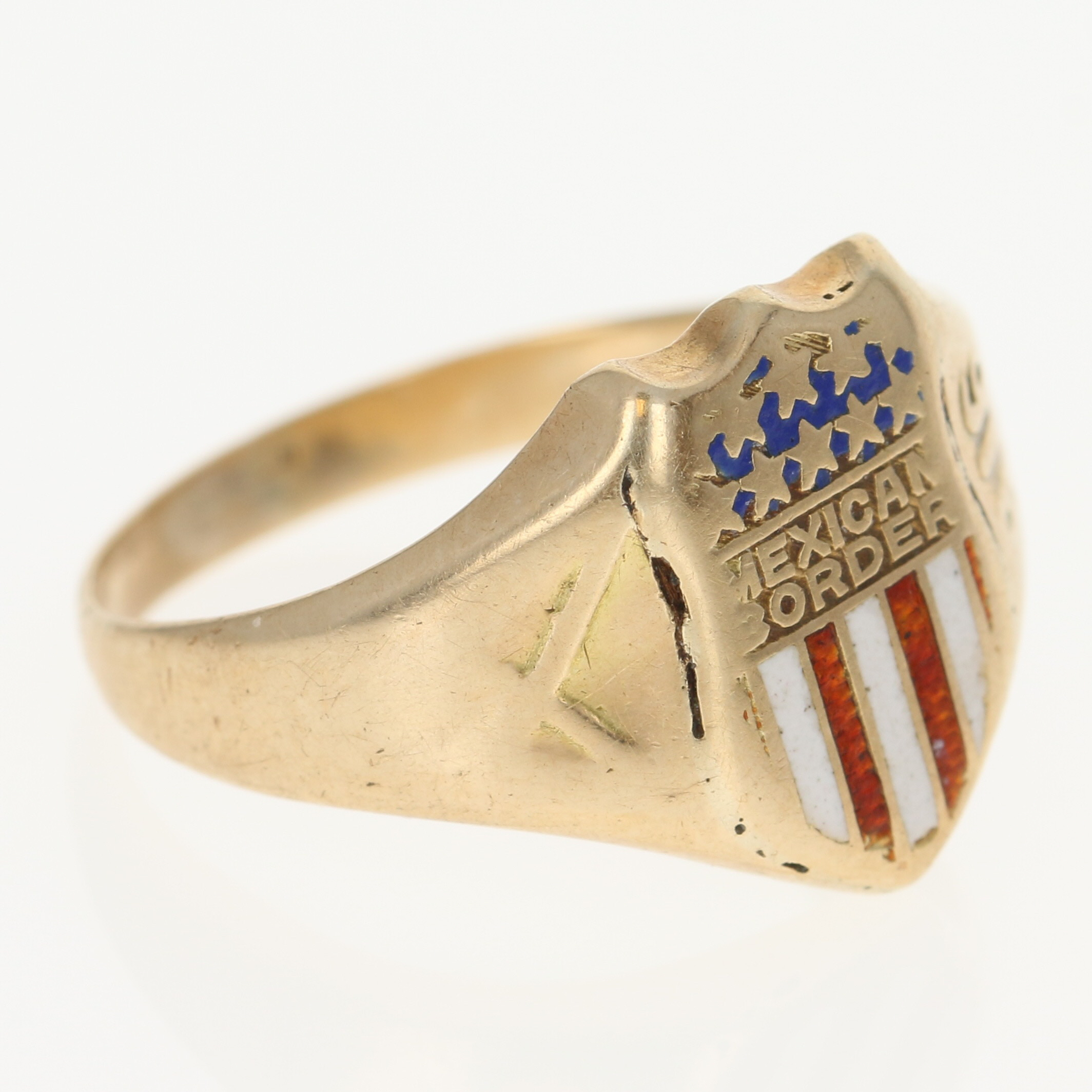 Antique Army Ring 14k Yellow Gold 1916 Mexican Border